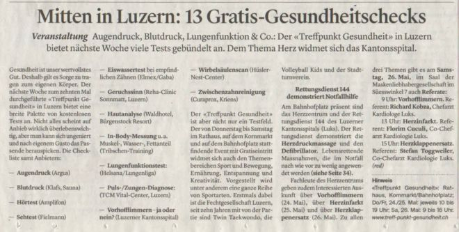 Luzerner Zeitung_20. Mai_Treffpunkt.Gesundheit