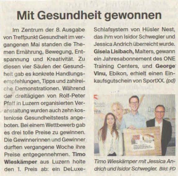 Luzerner Zeitung 1. Oktober 2016