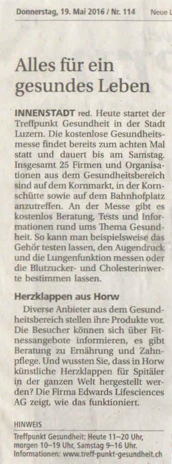 Luzerner Zeitung 19. Mai 2016